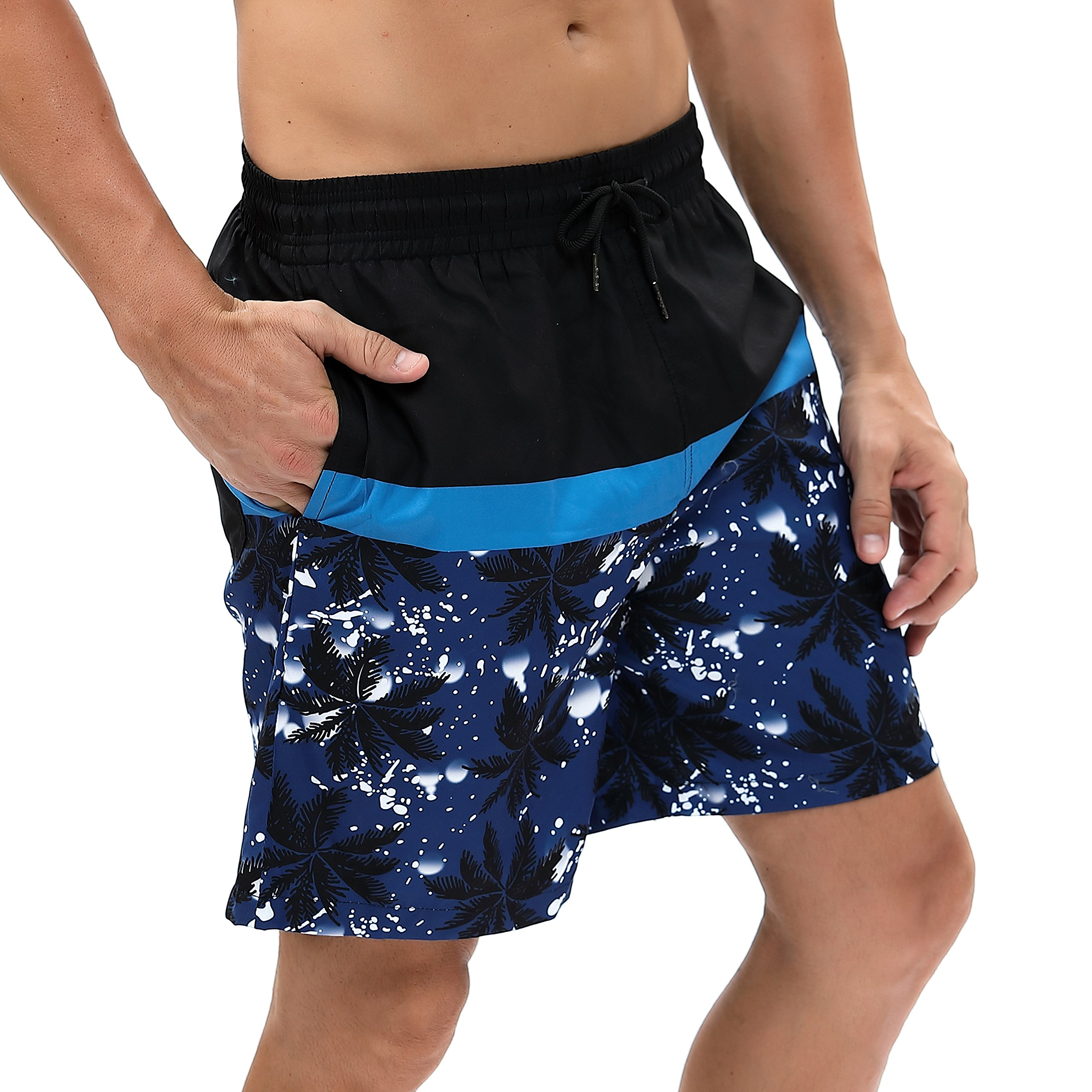 Funycell Men's Shorts Swim Trunks with Mesh Liner Black/Blue US S