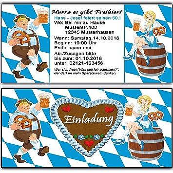 Einladungskarten Zum Geburtstag Oktoberfest Bayrisch Einladung 50 Stück  O Zapft Is Hüttengaudi Geburtstagseinladung Mottoparty