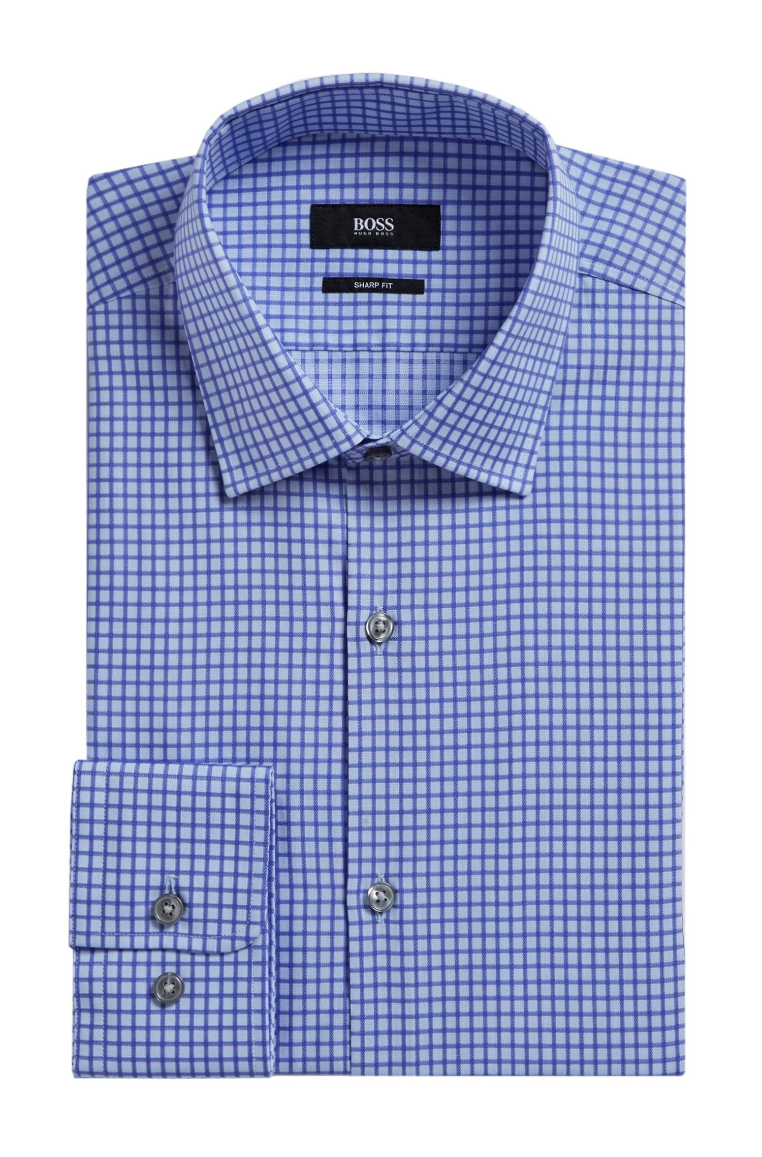 Hugo Boss Marley Grid Check Sharp Fit Dress Shirt (Purple, 15.5 34/35) by HUGO BOSS