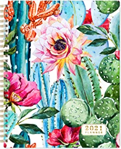 "2021 Planner - Weekly & Monthly 2021 Planner with Thick Paper, 8""x10"", from Jan 2021- Dec 2021, Twin- Wire Binding, to-Do List, Perfect Personal Organizer for School, Home & Office,Cactus Floral"