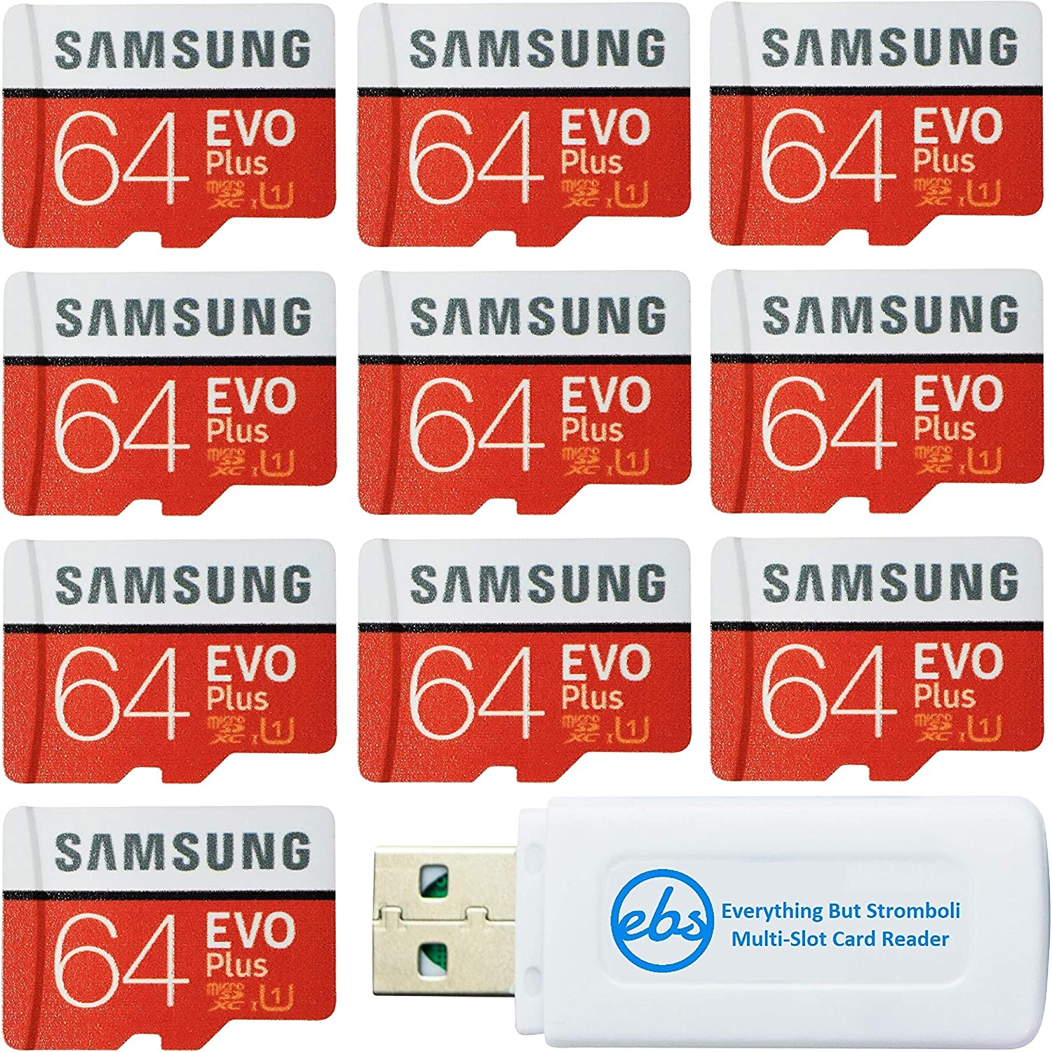 Samsung 64GB Evo Plus MicroSD Card (10 Pack EVO+) Class 10 SDXC Memory Card with Adapter (MB-MC64) Bundle with (1) Everything But Stromboli Micro & SD Card Reader