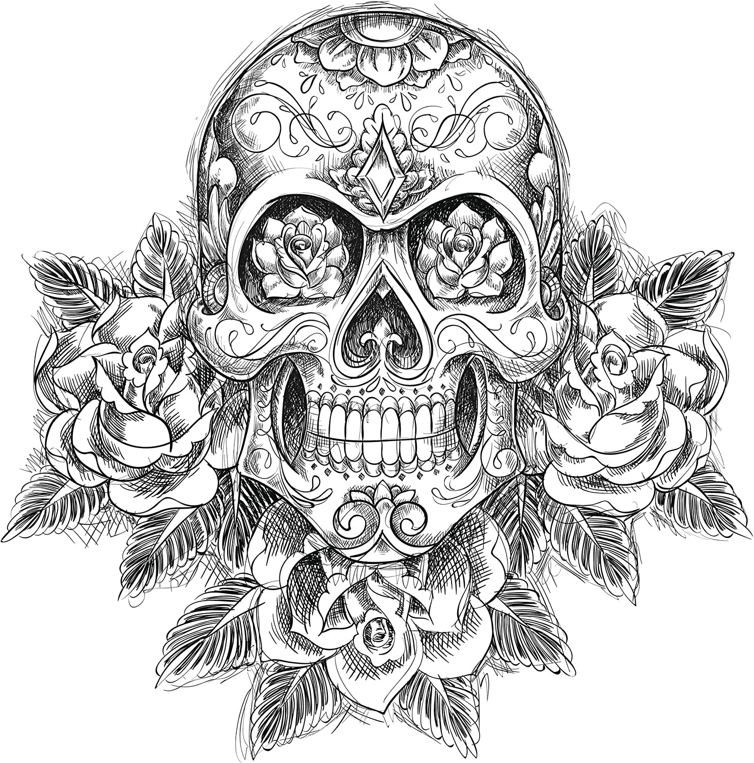 "6/"" x 4/"" Roses N/' Skull Vinyl Decal Stickers"