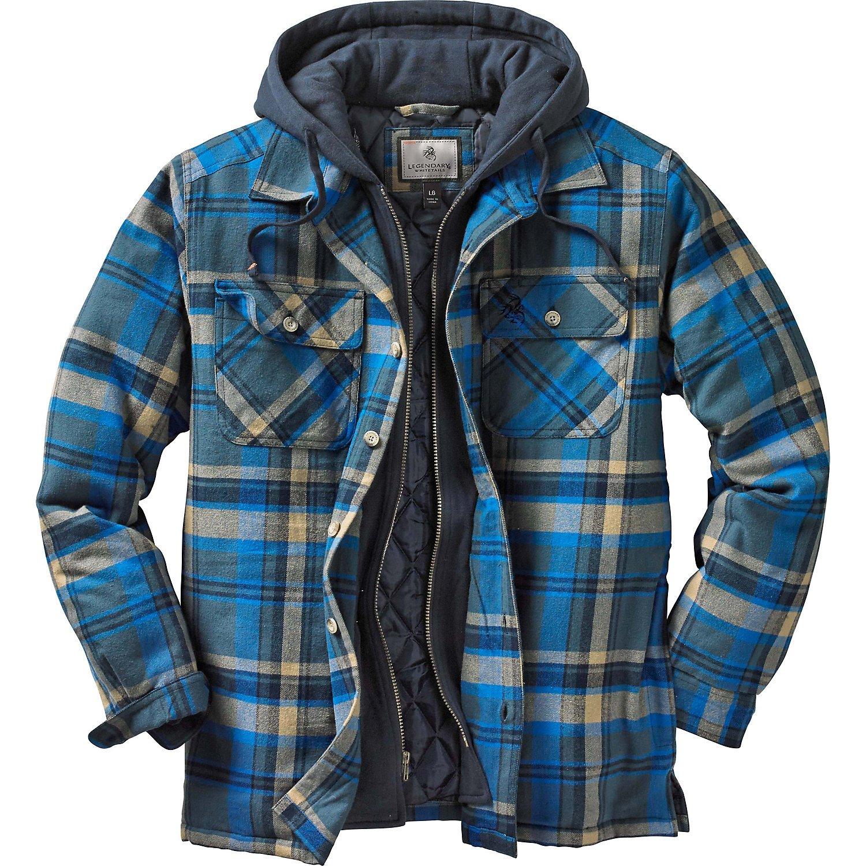 Legendary Whitetails Maplewood Hooded Shirt Jacket, Slate Hatchet Plaid, X-Large by Legendary Whitetails