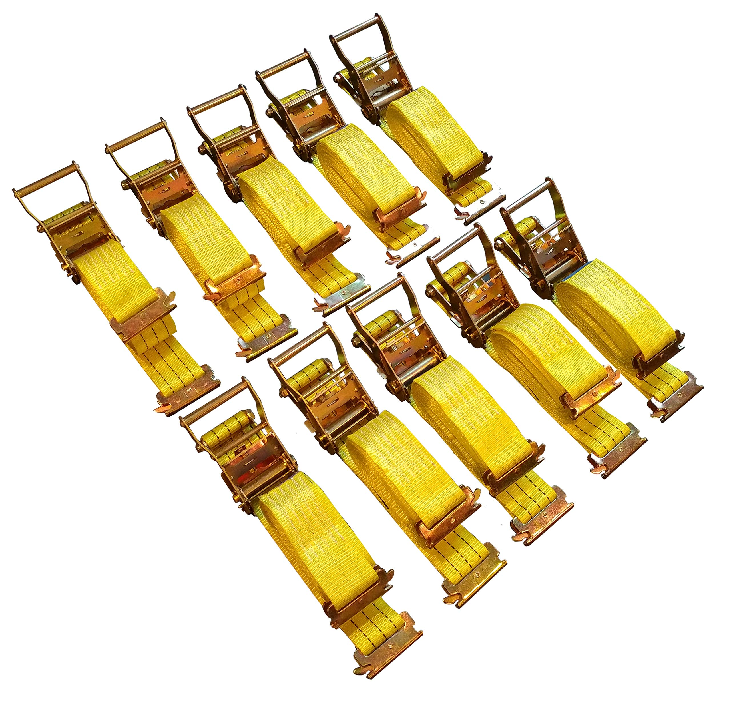 10 Pack E-Track Ratchet Straps 2''x15' 4400 lbs Tie Down by Cargo Control