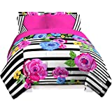 Just For Kids Floral/Stripe Pink/Yellow/Blue/Black Twin 3 Piece Sheet Set