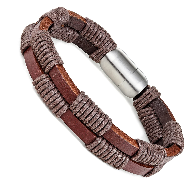 Urban Bijoux /él/égant Bracelet en cuir v/éritable pour homme avec fermoir en acier inoxydable magn/étique 21,6/cm