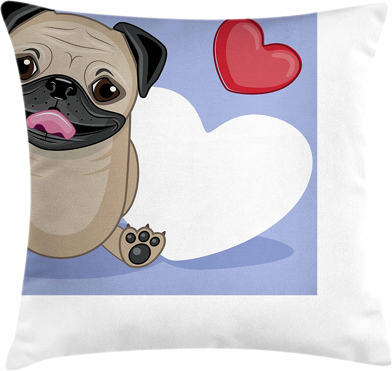 Amazon Com Ambesonne Pug Throw Pillow Cushion Cover Happy Dog Licking Its Lips With 3 Red And Big White Heart Love Theme Decorative Square Accent Pillow Case 20 X 20 Pale Brown Red