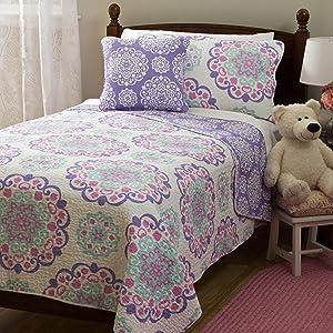 Design Studio Vivian 4-Piece Quilt Set Medallion, Bohemian Cotton, Reversible Bedding, Teen, Girls, Full, Purple