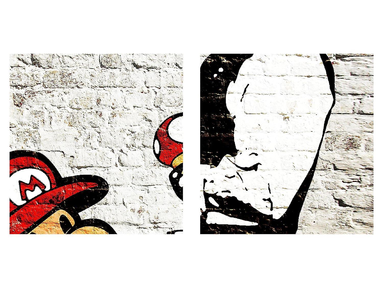 100/% MADE IN GERMANY Toile Taille XXL Salon Appartement D/écoration Photos dart Blanc 1 parties pr/êt /à accrocher 303014a Photo Mur de briques Mario et Cop Banksy D/écoration Murale 70 x 40 cm Toison