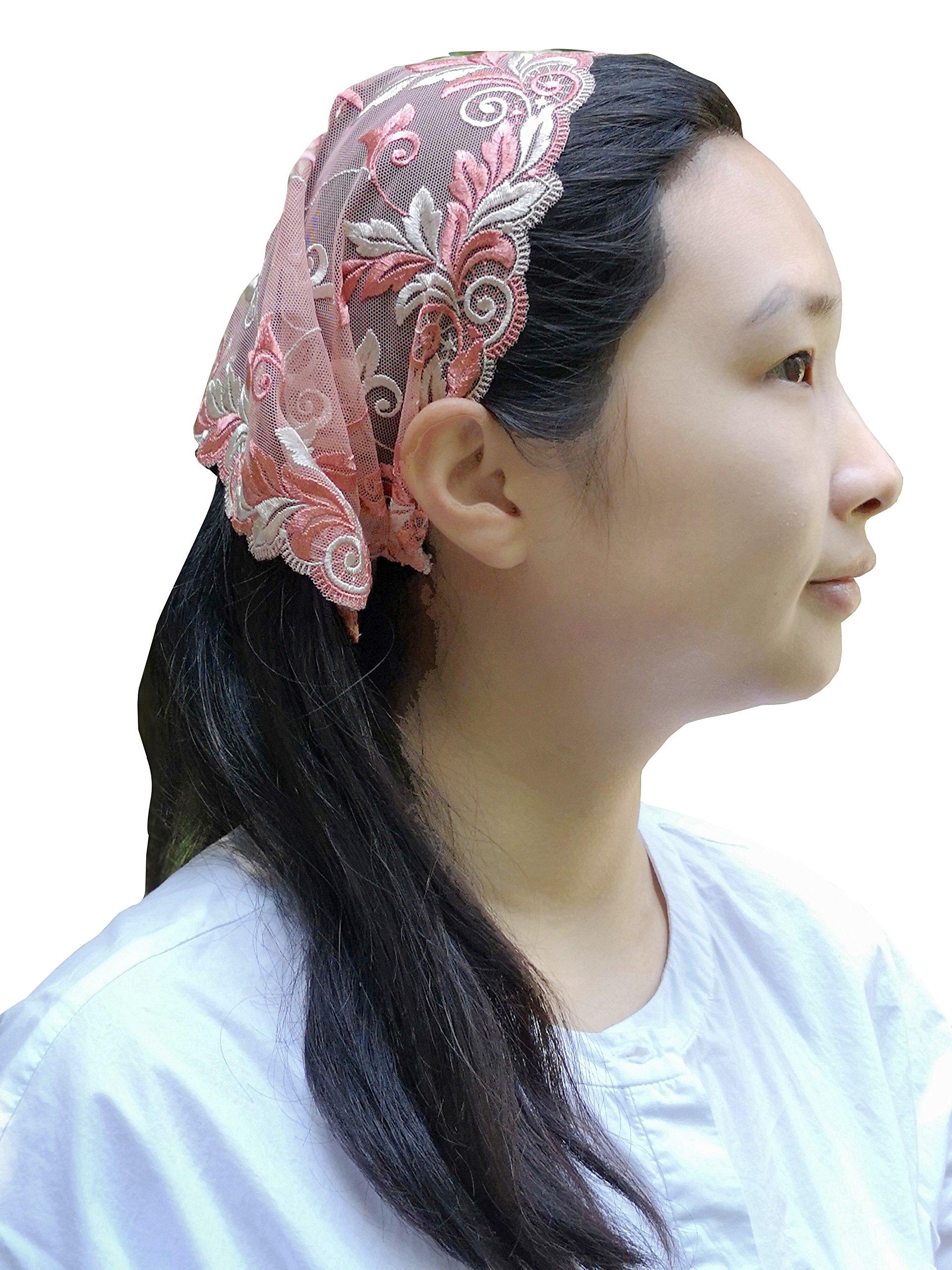 Soft Headwrap Lace Kerchief Tie-style Head Covering Church Veil Y030 (Blush)