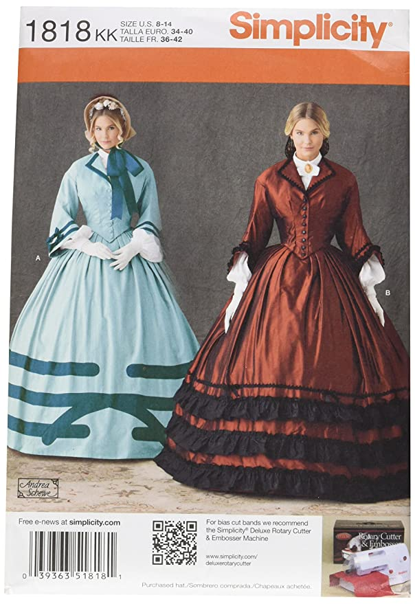 Steampunk Sewing Patterns- Dresses, Coats, Plus Sizes, Men's Patterns Simplicity 1818 Misses Costume Sewing Pattern Size KK (8-10-12-14)  AT vintagedancer.com