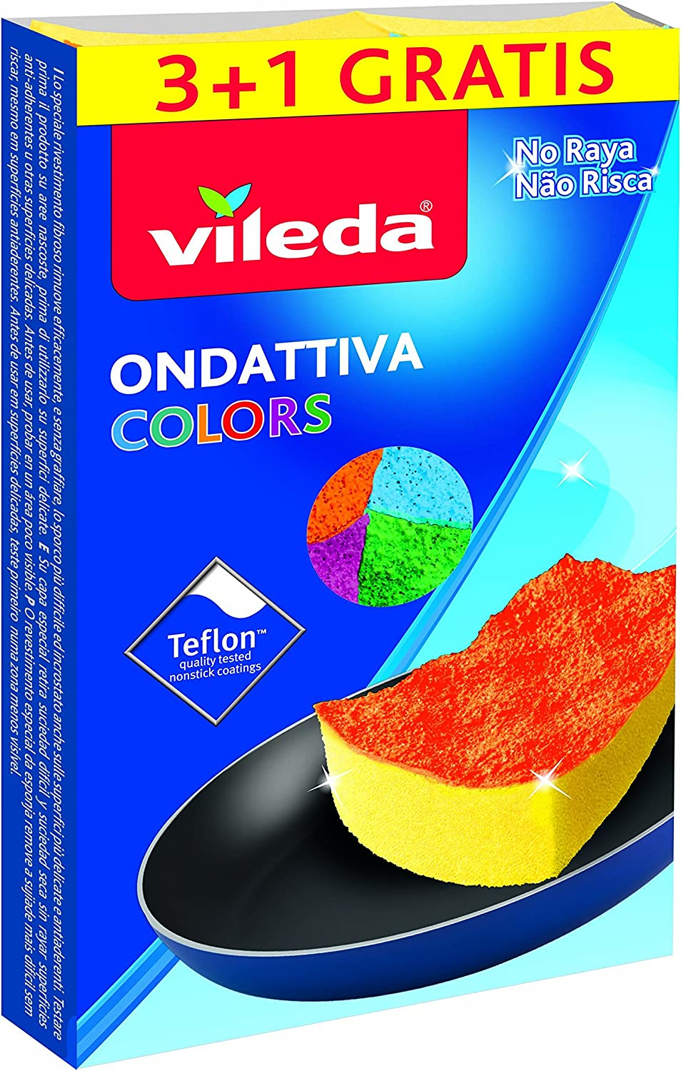 Amazon.com: Vileda Colors ondattiva MILLEUSI 3 + 1, Esponja ...