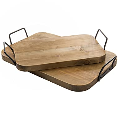 MyGift Vintage Style Wooden Breakfast Serving Trays with Square Metal Handles, Set of 2