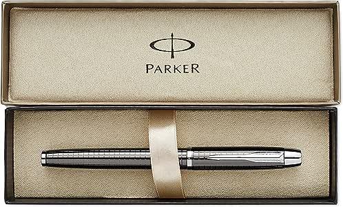 Parker IM Premium - Pluma estilográfica de punta media cromado con caja, color metal, con grabado: Amazon.es: Oficina y papelería