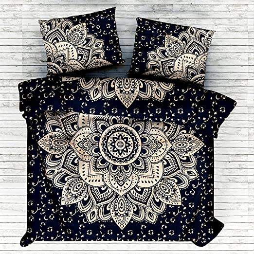 Indian Ombre Mandala Black Bedcover King Size Bed Sheet Hippie Boho Bedding Set