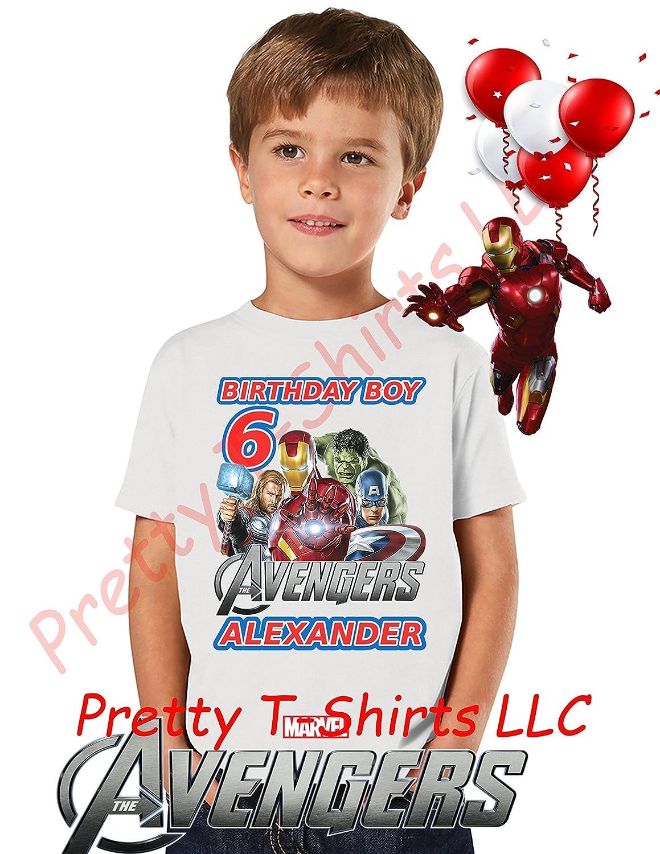 Amazon Avengers Birthday Shirt ADD Any Name Age Boy FAMILY Matching Shirts AVENGERS Superheroes 4