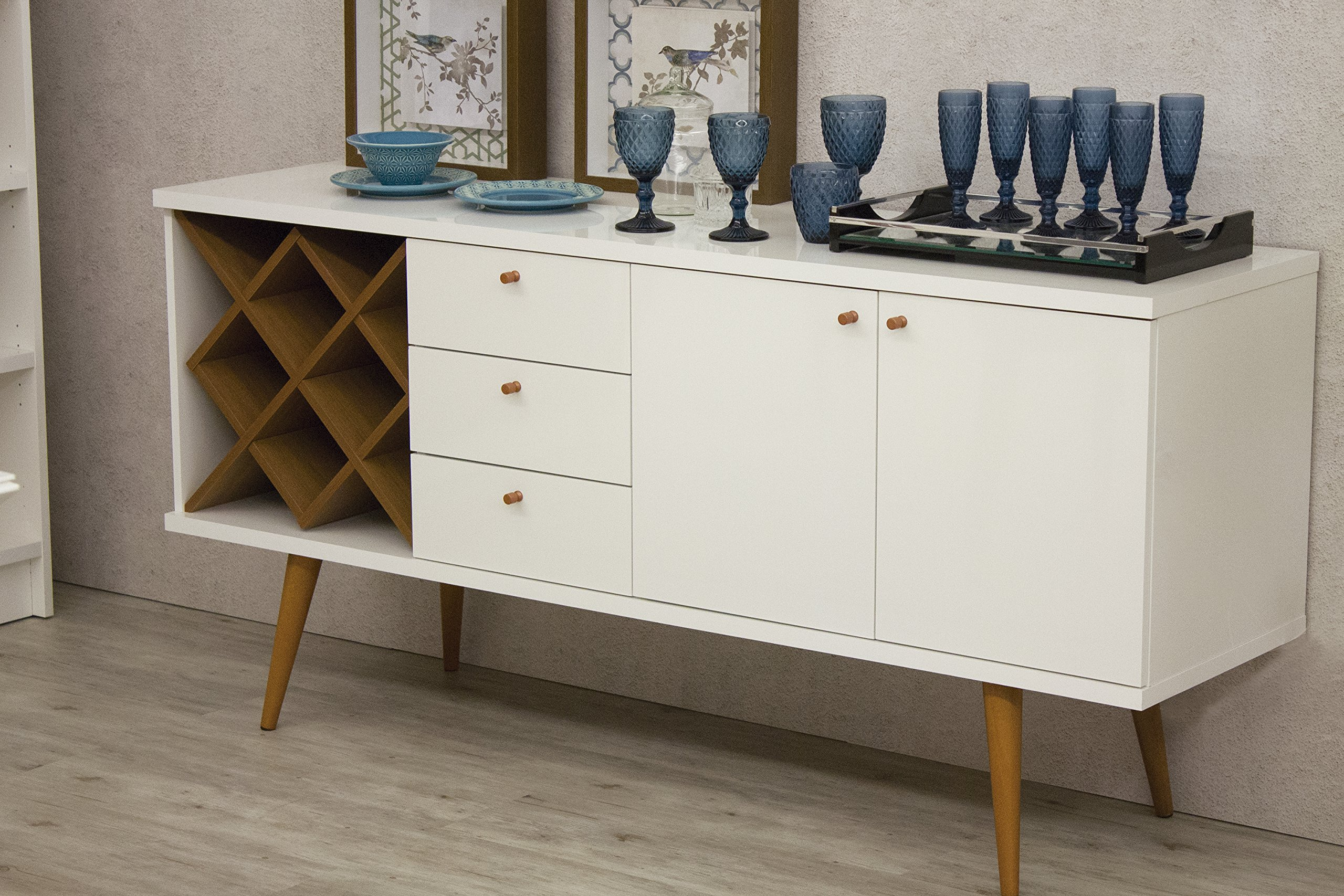 Manhattan Comfort Utopia Collection Mid Century Modern Sideboard Buffet Stand With 4 Bottle Wine Rack, Cabinet and 3 Drawers, Splayed Legs, White by Manhattan Comfort (Image #2)