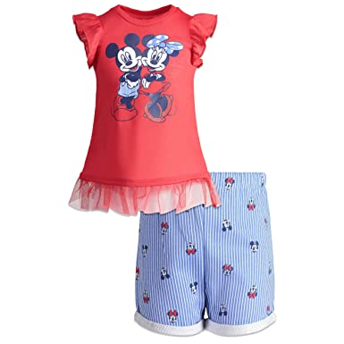 8095e43d8 Disney Minnie Mouse Toddler Girls' High-Low Tunic & Twill Shorts Set (Red