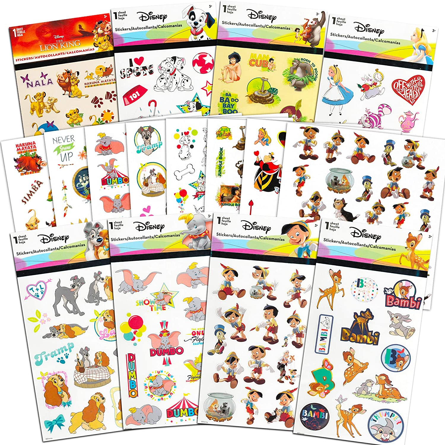 Classic Disney Stickers and Tattoos Party Favors Mega Assortment ~ Bundle Includes 32 Disney Sheets Featuring Bambi, Lion King, Jungle Book, Pinocchio, and More (Over 200 Stickers! Over 200 Tattoos!)