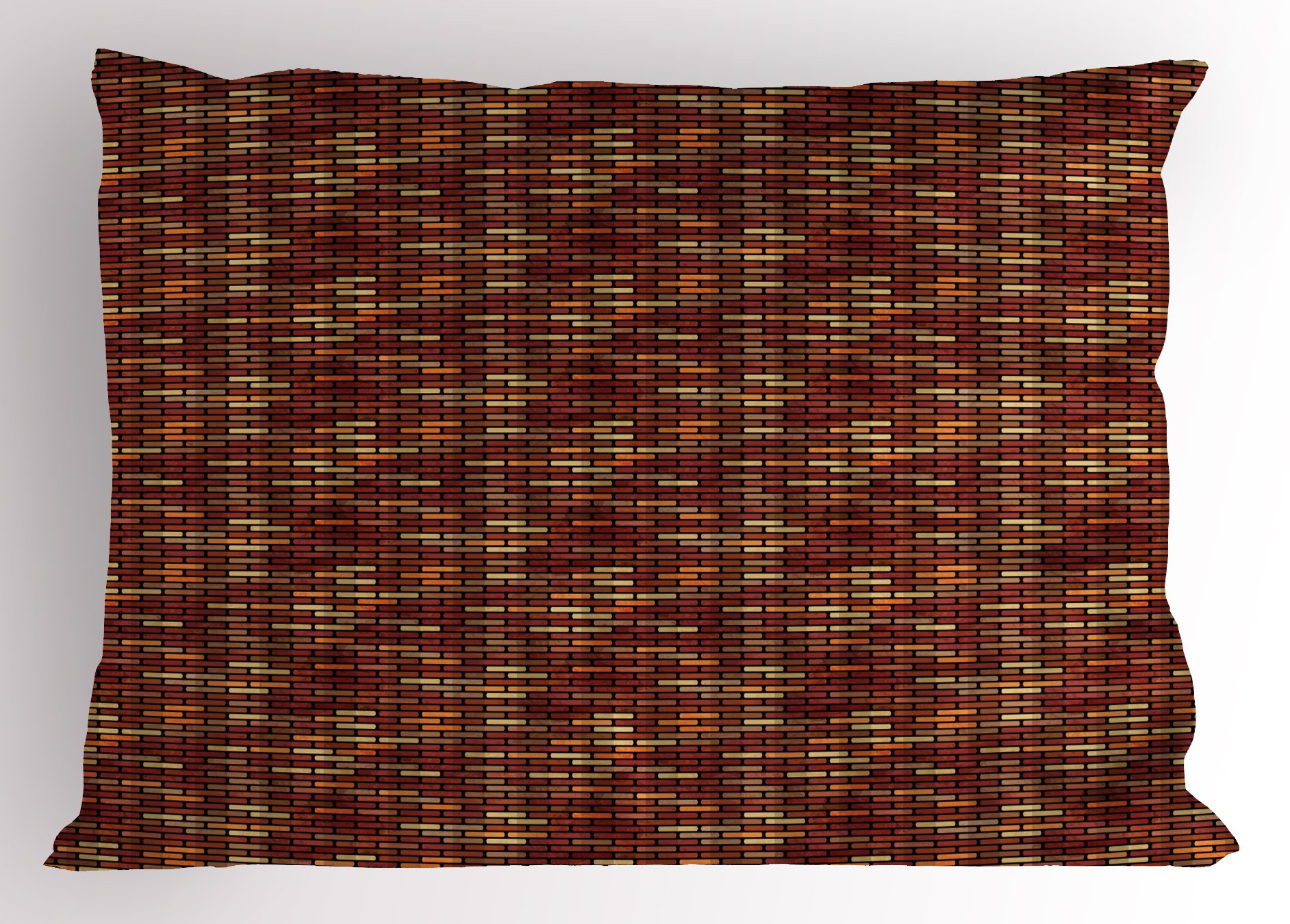 Ambesonne Grunge Pillow Sham, Brick Wall with Earthy Colors Architecture Themed Abstract Digital Illustration, Decorative Standard King Size Printed Pillowcase, 36 X 20 inches, Multicolor