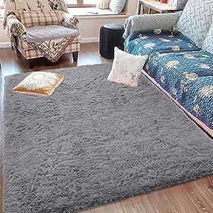 Fluffy Soft Kids Room Rug Baby Nursery Decor, Anti-Skid Large Fuzzy Shag Fur Area Rugs, Modern Indoor Home Living Room Floor Carpet for Children Boys Girls Bedroom Rugs,Grey 4 x 6 Feet