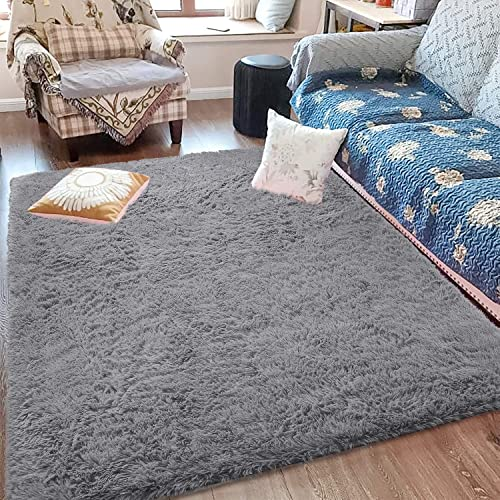 Fluffy Soft Kids Room Rug Baby Nursery Decor, Anti-Skid Large Fuzzy Shag Fur Area Rugs, Modern Indoor Home Living Room Floor Carpet for Children Boys Girls Bedroom Rugs, Grey 5 x 8 Feet