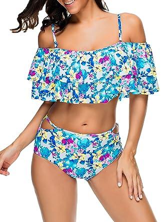 ed4105c093c Women Retro Flounce Two Piece Swimsuit Sexy Plus Size Off-Shoulder Bathing  Suit High Waist