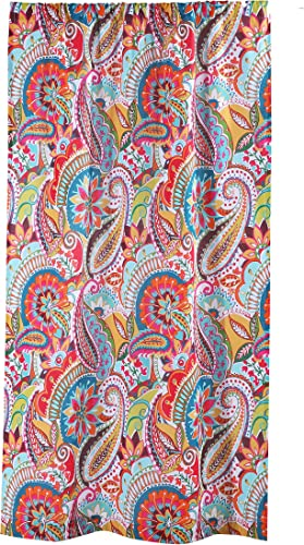 Levtex Home – Rhapsody – Window Panel with Rod Pocket – One Curtain Panel 84 inch Length – Bohemian Paisley – Orange, Turquoise, Teal Green, Red, Lime, Yellow, Blue, Brown – 100 Cotton – Lined