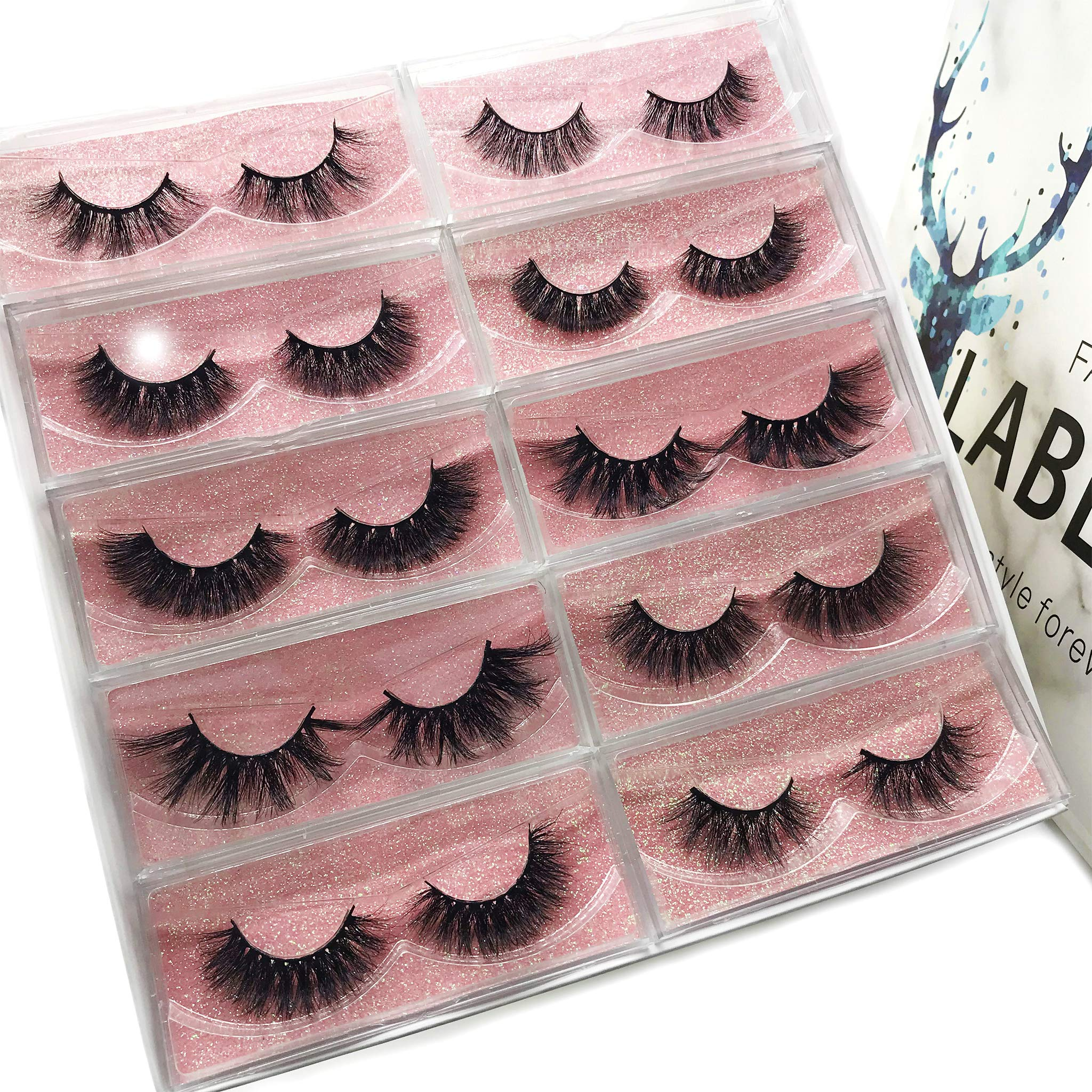 Labeh Mink Eyelashes 3D Mink Fur False Eyelashes Reusable Handmade Natural Lashes Fake Eyelashes Easy to Apply (10 different styles/package) by LAB·EH