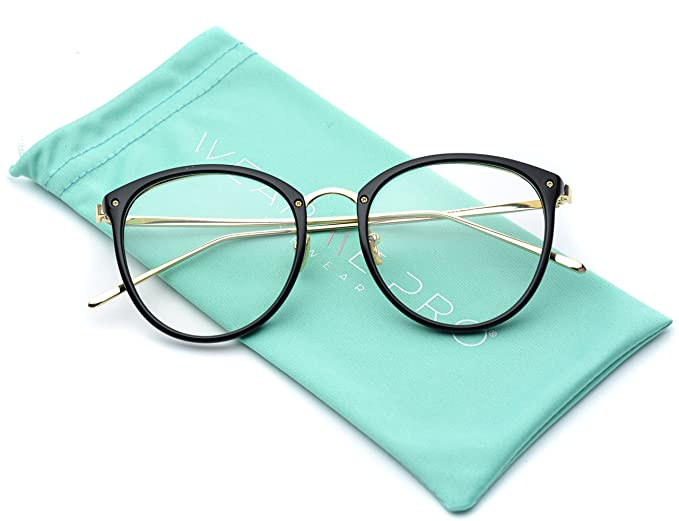 6d2fe47465 Amazon.com  WearMe Pro - Round Retro Frame Metal Gold Temple Clear Glasses   Clothing