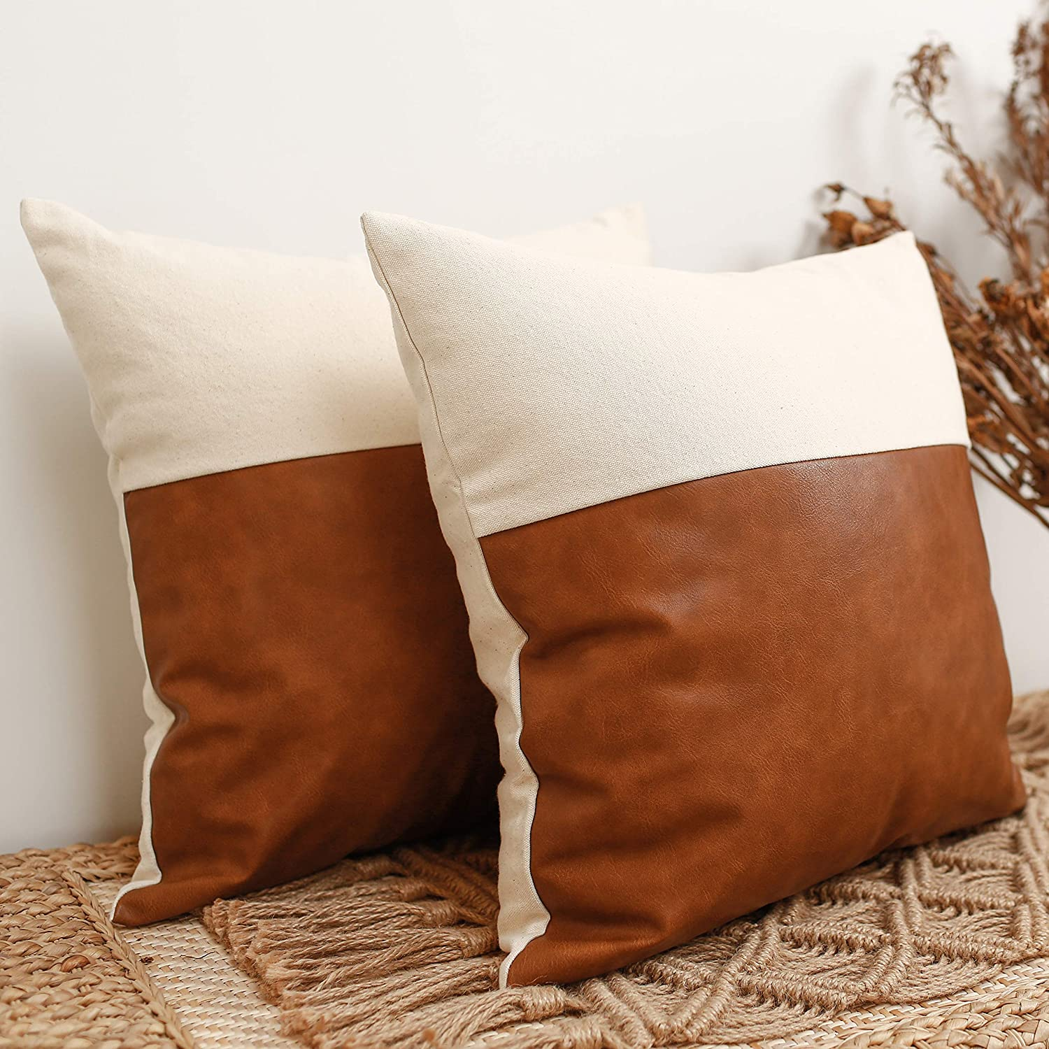 HOMFINER Faux Leather and 100% Thick Natural Cotton Decorative Throw Pillow Covers 18x18, Set of 2 Modern Farmhouse Boho Rustic Decor Accent Cases for Living Room Bedroom Bed Couch Cream Cognac Brown