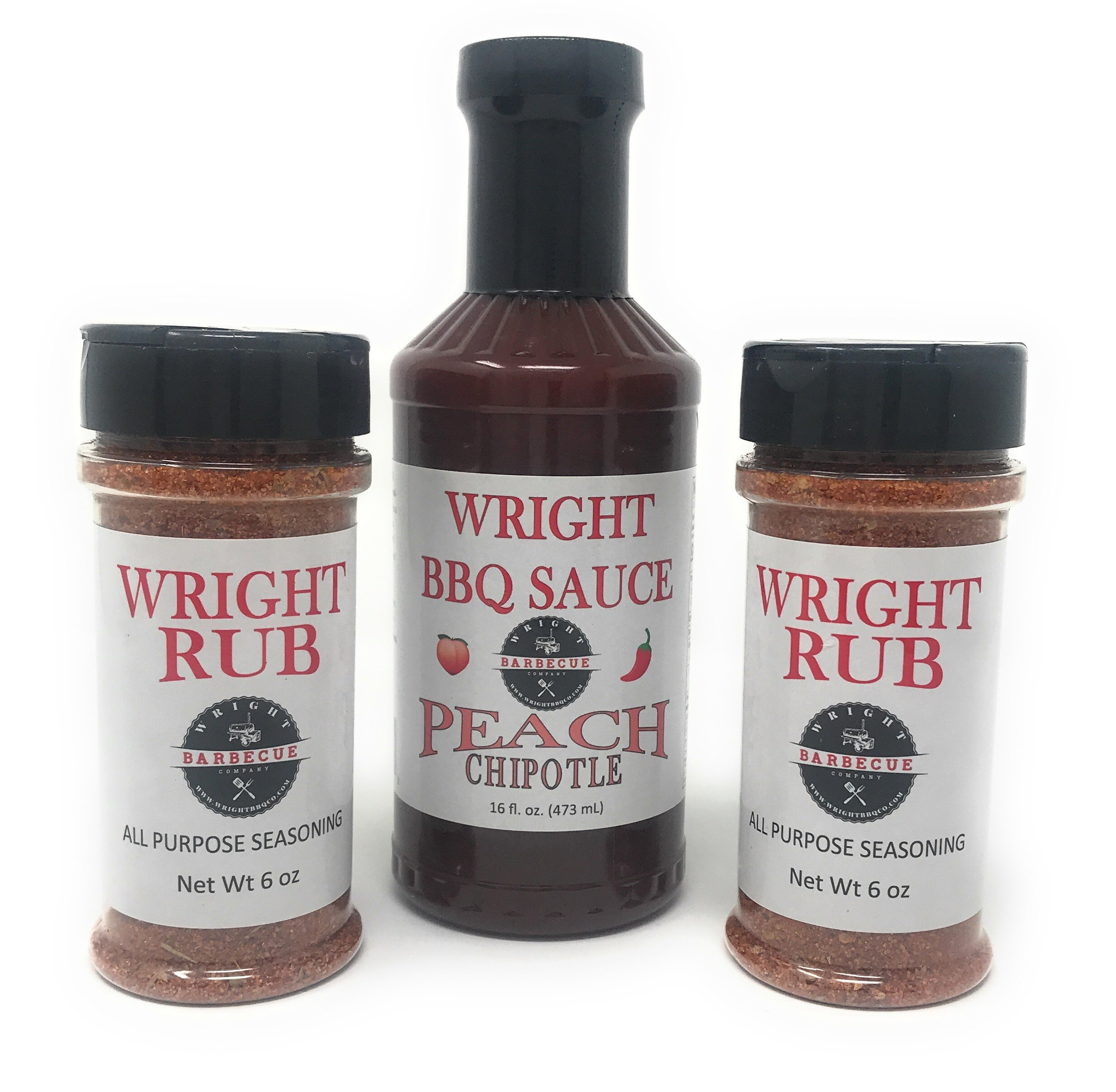 Wright BBQ Company - All Purpose Seasoning (Two 6 Ounce Bottles) and Peach Chipotle Barbecue Sauce (One 16 Ounce Bottle) 3 Items Total