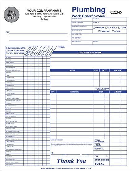 plumbing service orderinvoice personalized 500 forms