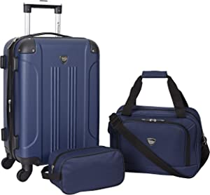 Travelers Club Sky+ Hardside Expandable Luggage Set with Spinner Wheels, Navy Blue, 3 Piece