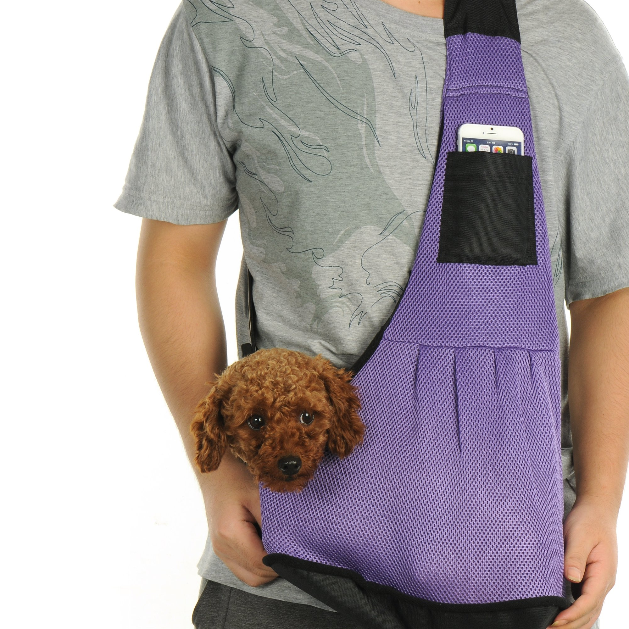 kiwitatá Small Dog Pet Cat Sling Carrier Bag Hands-Free Breathable Outdoor Slings Carriers for Pet Puppy Outdoor Carrier Travel Tote Backpack (Large, Purple)