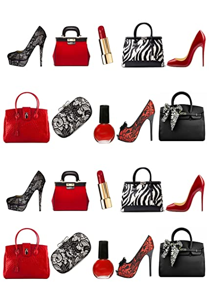 5f1530998e729 20 Stand Up Party Girl Red and Black Handbag Shoes Lipstick Birthday Edible  Wafer Paper Cake Toppers Decorations