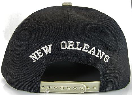 Amazon.com  New Orleans No Oval Style Cotton Adjustable Snapback Baseball  Cap (Black Khaki)  Clothing a2d1ae1cc