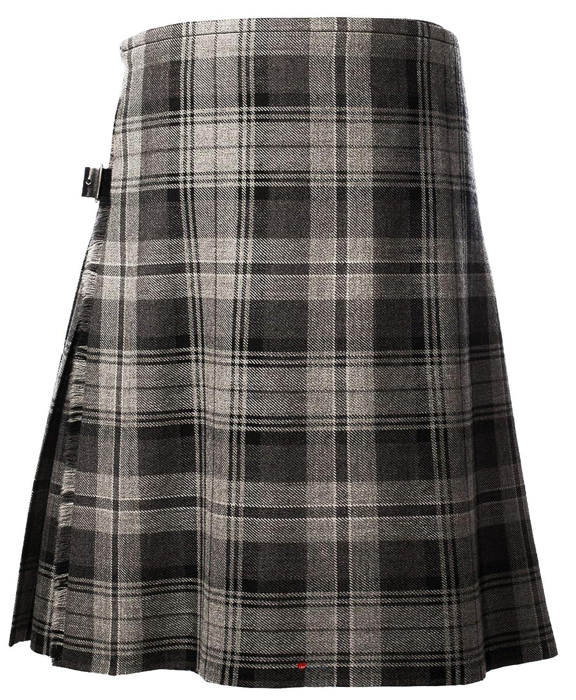 Gents Scottish Kilt Full 8 Yard 24in Drop Waist 50-52 Colour Hamilton Grey Tartan I Luv Ltd