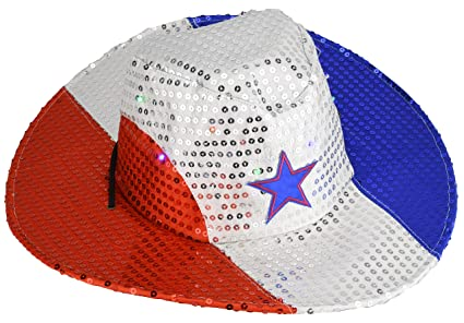9dae37d2fb232 Image Unavailable. Image not available for. Color  Flashing Patriotic  Cowboy Hat with LED Lights ...