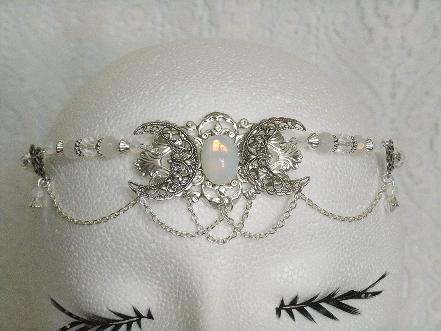 Opalite Triple Moon Circlet handmade jewelry wiccan pagan wicca witch witchcraft goddess headpiece