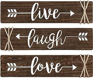 Dahey Rustic Wood Arrow Sign Wall Decor Live Laugh Love Sign 14