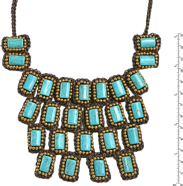 Rectangle Mosaic Turquoise Jewelry Statement Neckace Turquoise Necklace Gemstone Handmade Jewelry