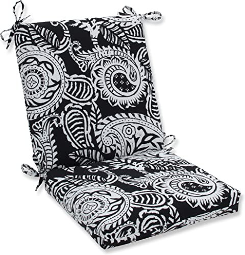 Pillow Perfect Outdoor Indoor Addie Night Square Corner Chair Cushion, 36.5 x 18 , Black