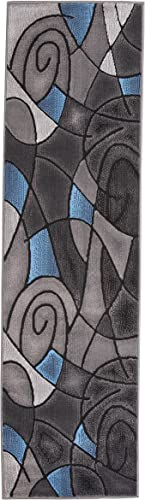 Rugs 4 Less Collection Abstract Contemporary Modern Runner Area Rug, Blue Grey Black Design R4L 860 2 X7
