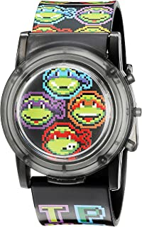 Nickelodeon Boys Quartz Stainless Steel and Plastic Casual Watch, Color Black (Model: TMN6003SR