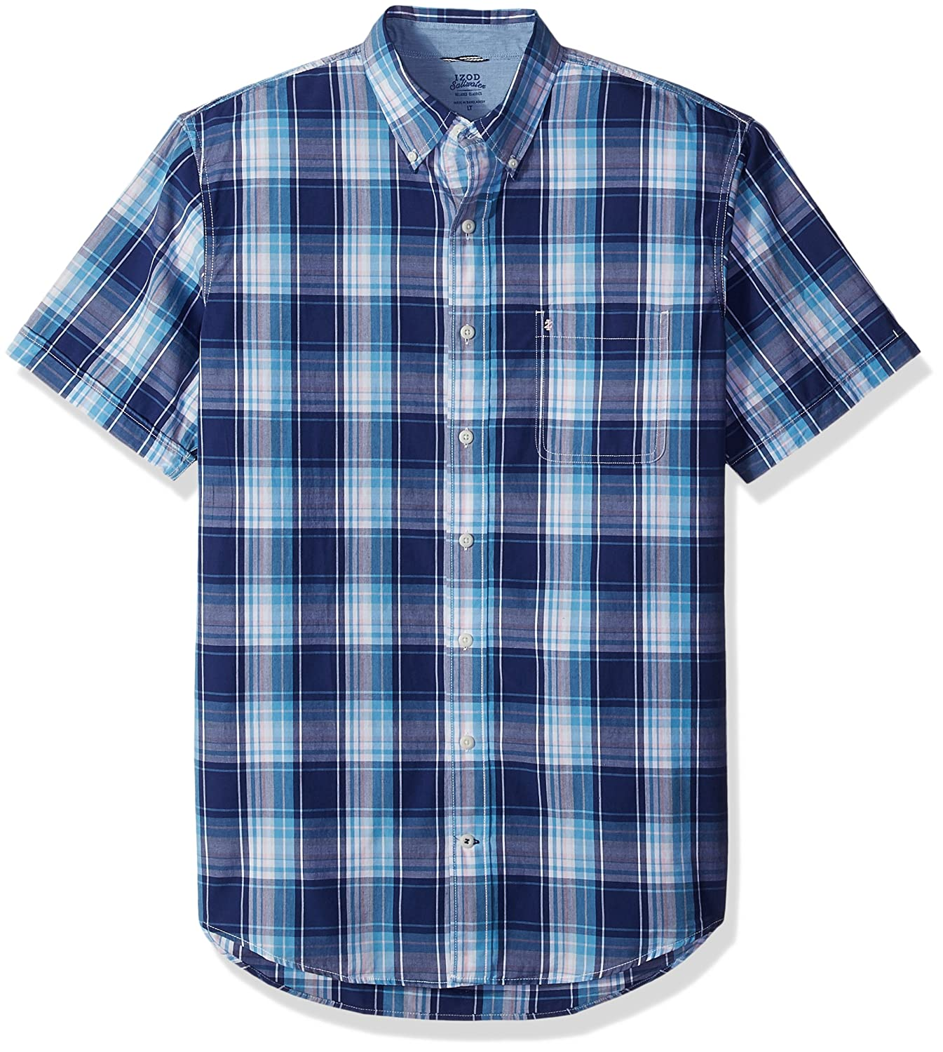 d37522ccd47 Izod Mens Big and Tall Saltwater Short Sleeve Plaid Shirt Button-Down Shirt   Amazon.ca  Clothing   Accessories
