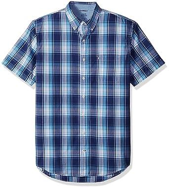 d56d90f2 IZOD Men's Dockside Chambray Plaid Short Sleeve Shirt (Big & Tall and Slim  Tall)