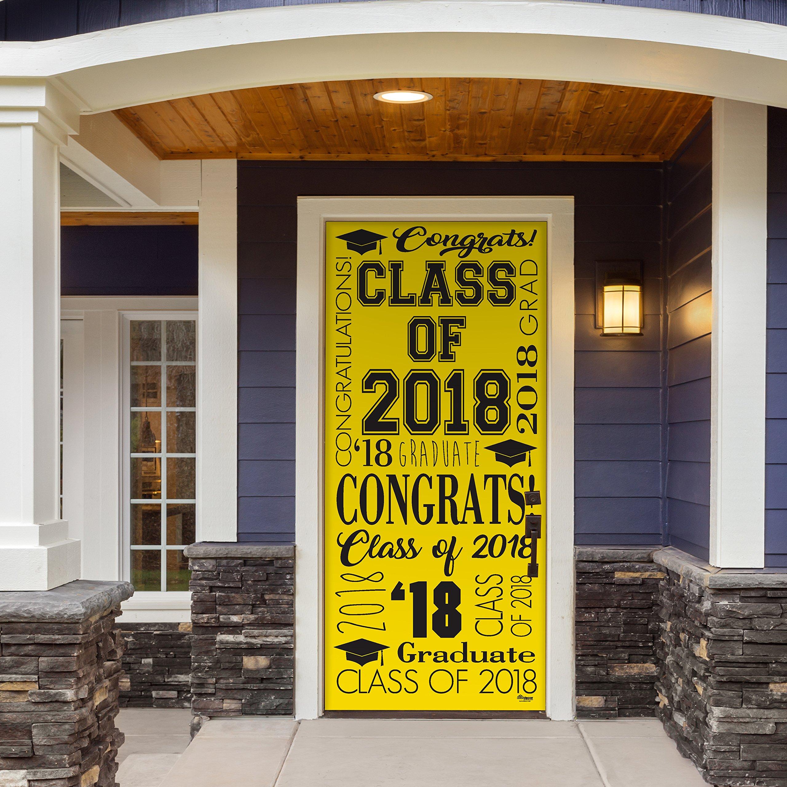 Victory Corps Collage Yellow - Outdoor GRADUATION Garage Door Banner Mural Sign Décor 36'' x 80'' One Size Fits All Front Door Car Garage -The Original Holiday Front Door Banner Decor