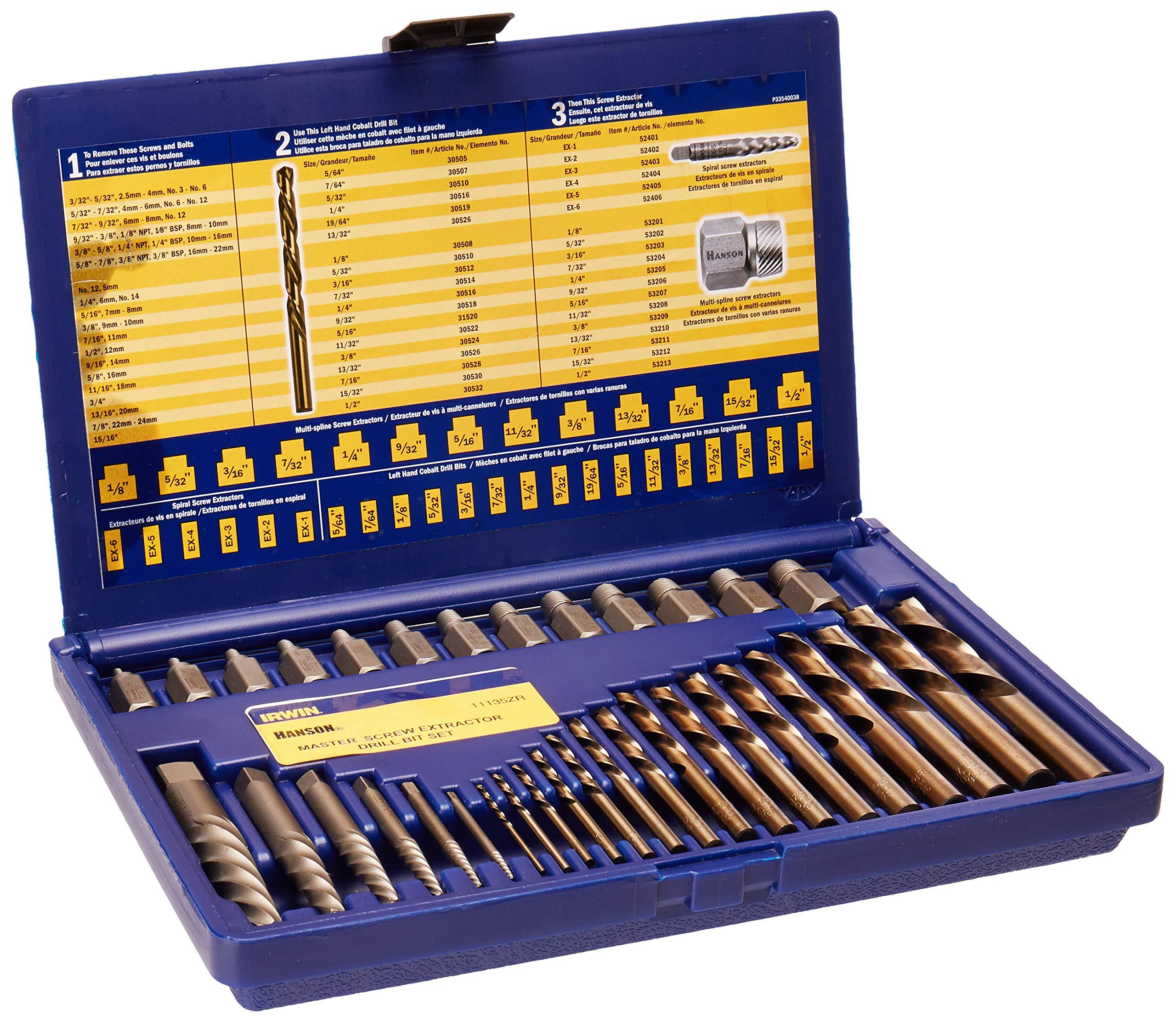 IRWIN Screw Extractor/ Drill Bit Set, 35-Piece (11135ZR) by IRWIN