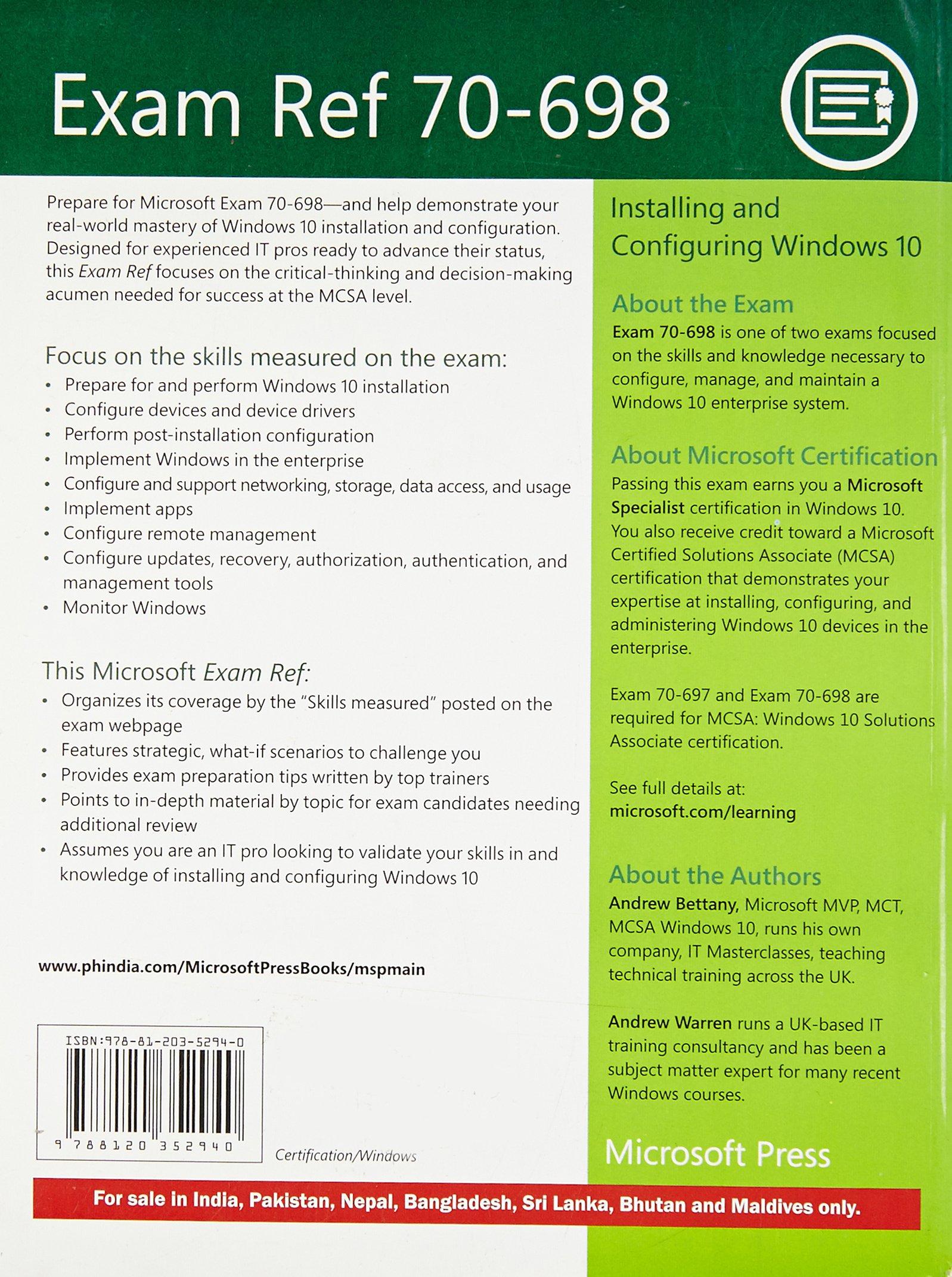 Exam Ref 70 698 Installing And Configuring Windows 10 Amazon